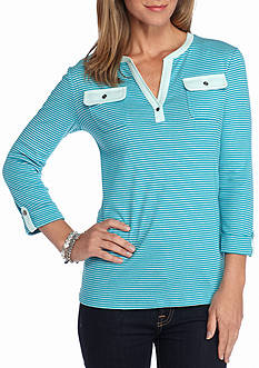 Kim Rogers Henley Mix Stripe Knit Top