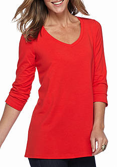 Kim Rogers V-Neck Solid Swing Knit Top