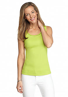 Kim Rogers Solid Rib Tank With Embroidery Detail