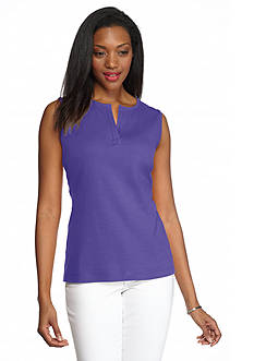 Kim Rogers Solid Split Neck Tank