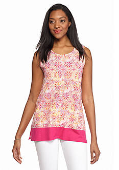 Kim Rogers Sleeveless Medallion Tunic with Solid Border