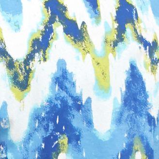 Kim Rogers® Women Sale: Blue/Lime Kim Rogers Short Sleeve Wave Print Top
