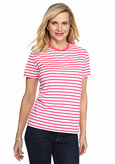 Kim Rogers Short Sleeve Striped Jacquard Tee