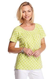 Kim Rogers Short Sleeve Peasant Allie Geo Knit Top