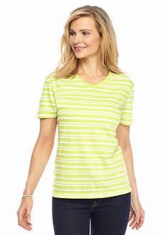 Kim Rogers Jacquard V-Neck Striped Knit Top