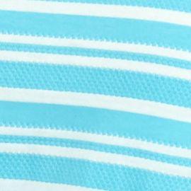 Kim Rogers Women Sale: Caribbean Turquosie/White Kim Rogers Jacquard V-Neck Striped Knit Top