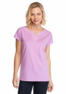 Kim Rogers Solid Embroidered Peasant Top