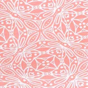 Kim Rogers Women Sale: Coral/White Kim Rogers Medallion Boatneck Top