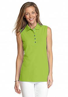 Kim Rogers Sleeveless Solid Polo Shirt