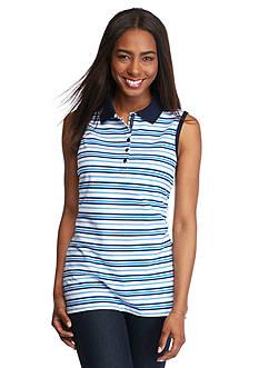 Kim Rogers Sleeveless Stripe Polo Shirt