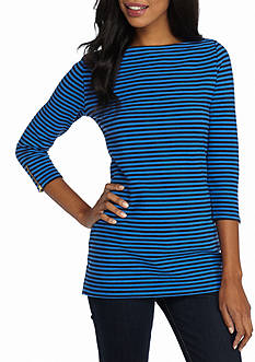 Kim Rogers Three-Quarter Sleeve Boat Neck Stripe Tunic