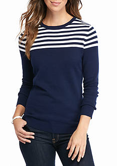 Kim Rogers Colorblock Striped Crew Neck Top