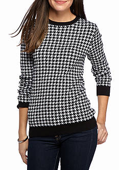 Kim Rogers Houndstooth Jacquard Crew Neck Sweater