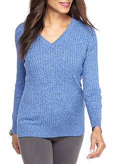 Kim Rogers Cable Knit V-Neck Marled Sweater