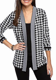 Kim Rogers Houndstooth and Stripe Cardigan