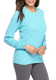 Kim Rogers Cable Crew Color Marled Sweater