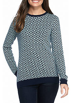 Kim Rogers Long Sleeve Crew Neck Jacquard Sweater