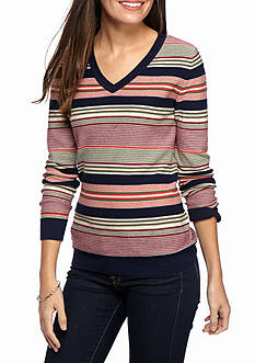 Kim Rogers Cable V-Neck Stripe Sweater