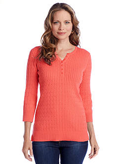 Kim Rogers® Solid Cable Henley Sweater