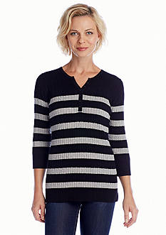 Kim Rogers® Striped Cable Henley Sweater