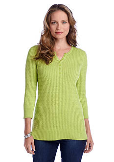 Kim Rogers® Heathered Cable Henley Sweater