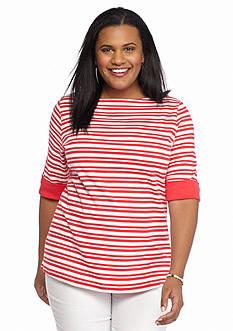 Kim Rogers Plus Size Multi Striped Knit Top