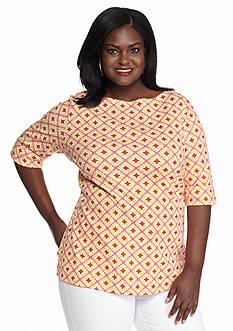 Kim Rogers Plus Size Geo Print Knit Top