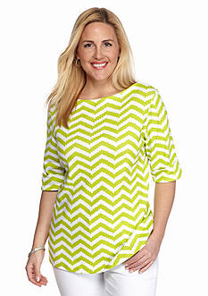 Kim Rogers Plus Size Chevron Elbow Sleeve Top
