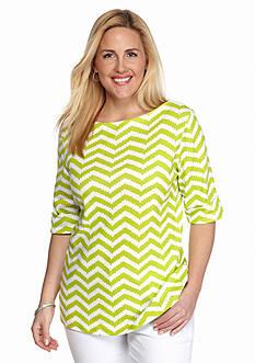 Kim Rogers Plus Size Chevron Elbow Sleeve Top