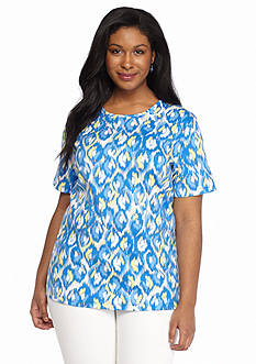 Kim Rogers Plus Size Printed Knit Tee