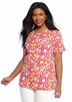 Kim Rogers Plus Size Printed Knit Tee