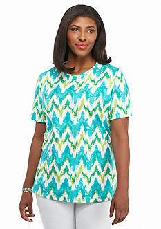Kim Rogers Plus Size Watercolor Waves Knit Top