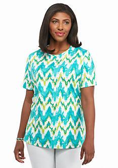 Kim Rogers Plus Size Watercolor Waves Knit Top