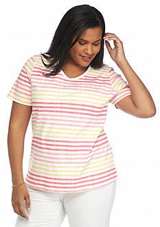 Kim Rogers Plus Size Watercolor Stripe Tee