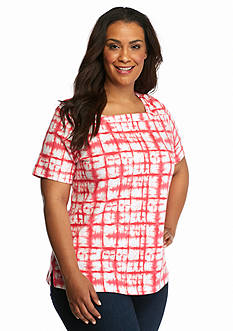 Kim Rogers Plus Size Tie Dye Square Neck Top