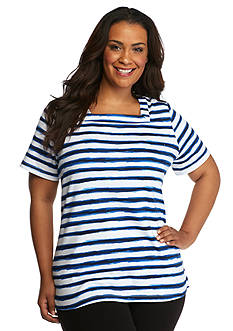 Kim Rogers Plus Size Marine Stripe Knit Top