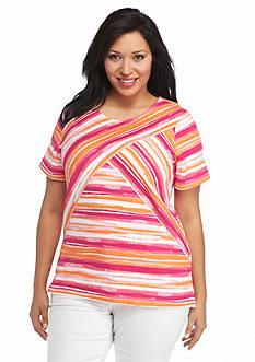 Kim Rogers Plus Size Scenic Stripe Splice Top