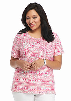 Kim Rogers Plus Size Scoop Neckline Stripe Splice Top