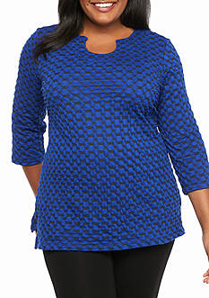 Kim Rogers Plus Size Three Quarter Sleeve Horseshoe Knit Top
