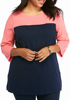 Kim Rogers Plus Size Colorblock Tunic