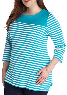 Kim Rogers 3/4 Sleeve Tunic With Stripes