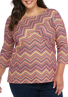 Kim Rogers Plus Size Three Quarter Sleeve Chevron Splice Top