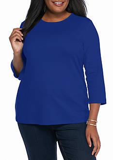 Kim Rogers Plus Size Solid Bio Knit Top