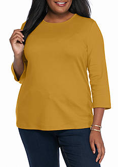 Kim Rogers Plus Size Solid Bio Knit Top