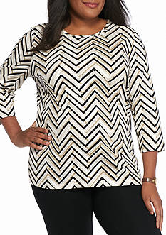 Kim Rogers Plus Size Solid Bio Chevron Print Top