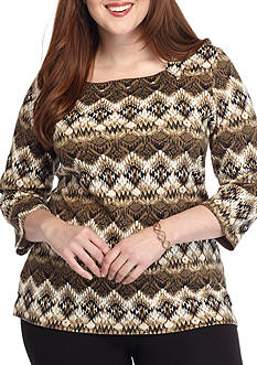 Kim Rogers Plus Size 3/4 Sleeve Square Neck Top