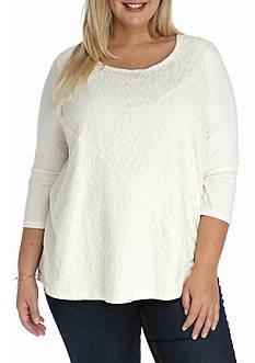 Kim Rogers Plus Size Lace Swing Splice Knit Top