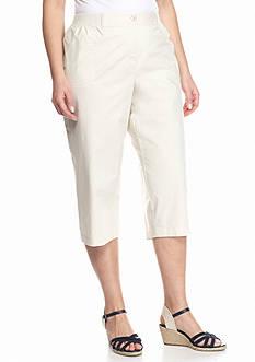 Kim Rogers Plus Size Solid Knit Waist Capri Pants