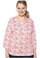 Kim Rogers® Plus Size Split Neck Bio-polished Interlock Tee