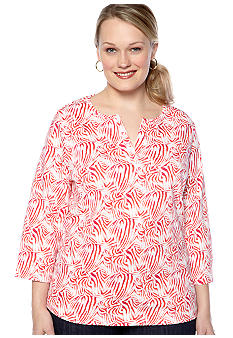 Kim Rogers Plus Size Split Neck Bio-polished Interlock Tee